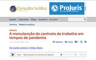 Opinião – A manutenção do contrato de trabalho em tempos de pandemia